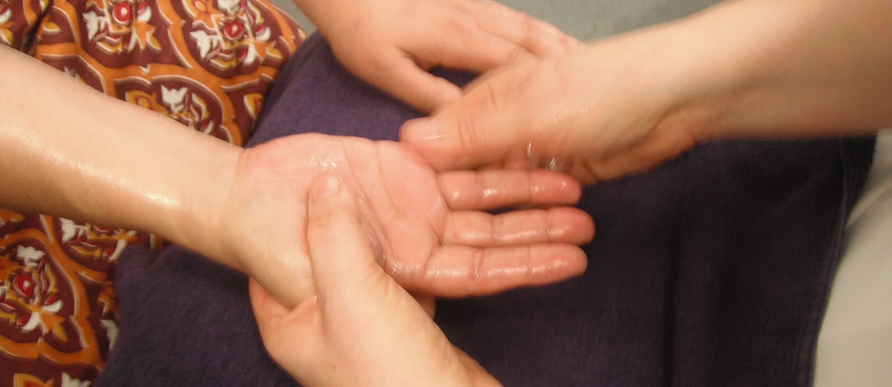 Hand massage session
